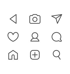 collection of user interface thin line icons vector image