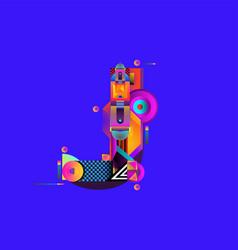 Colorful alphabet font letter j for logo vector