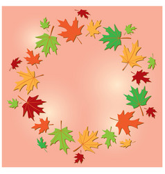 Colorful frame of leaves on rosy background vector