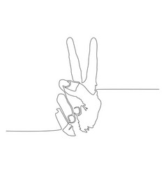 continuous one line peace or victory sign hand vector image