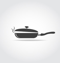 Coocking pan with steam vector