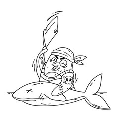 Crazy pirate penguin cuts a shark with a cleaver vector