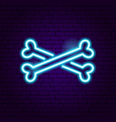 crossbones neon sign vector image