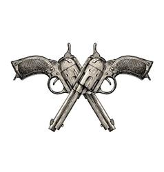 Crossed pistols Vintage gun pistol vector