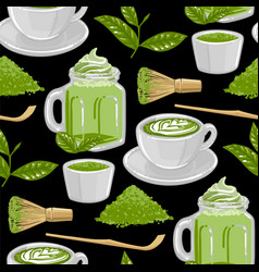 cups match tea and coffee surrounded green vector image