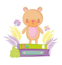 cute bear teddy with books vector image