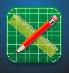 Cutting mats pencil and ruler icon vector image