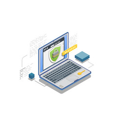 Data protection isometric banner vector