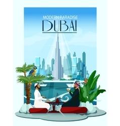 Dubai city poster with burj khalifa vector