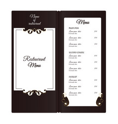 elegant vertical restaurant menu with leafy vector image