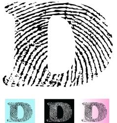 Fingerprint Alphabet Letter D vector image
