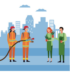 Firefighters at city vector