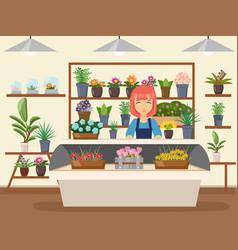 Flower shop interior green natural decorations vector