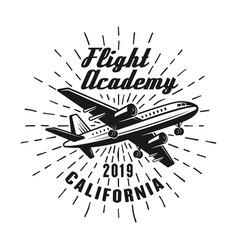 Flying academy emblem label badge or logo vector
