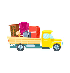Freight truck with furniture icon vector