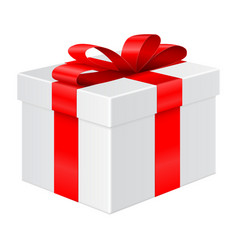 gift box with red ribbon package mockup vector image