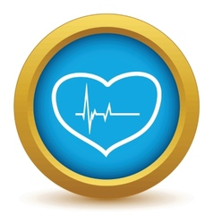 Gold heart beating icon vector image