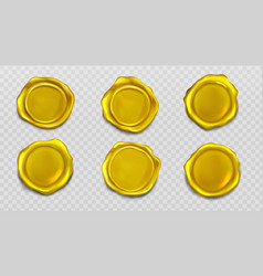 gold wax seal stamp approval sealing icons set vector image