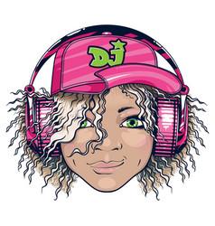 Grinning dj girl in pink headphones vector