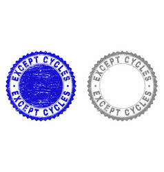 Grunge except cycles scratched stamp seals vector