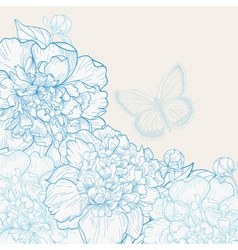 Hand drawn wedding invitation with peonies vector
