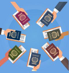 Hands holding passport ticket boarding pass travel vector