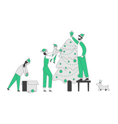happy family with dog prepare for christmas vector image