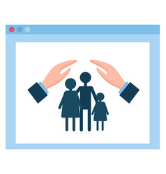 Health or medical insurance hands protect family vector