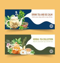 Herbal tea banner design with chamomile mint tea vector