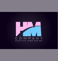 Hm alphabet letter join joined letter logo design vector