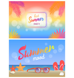 Hot summer party summertime mood poster beach set vector