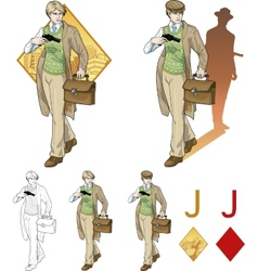 Jack of diamonds boy with a gun Mafia card set vector image
