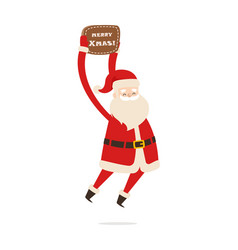 jumping santa claus with table merry christmas vector image