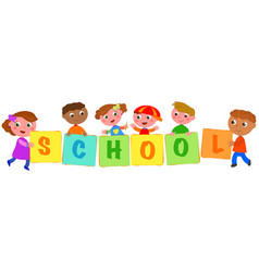 kids holding colored school sings vector image