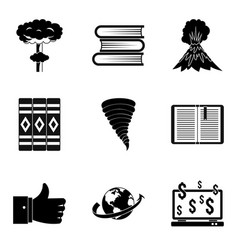 Literary icons set simple style vector