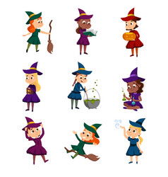 little witches set cute girls wearing dress and vector image