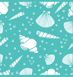 marine seamless pattern sea life vector image