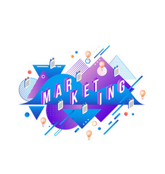 marketing isometric text design on modern abstract vector image