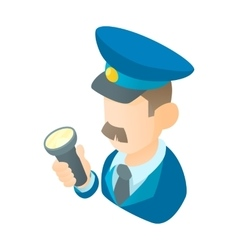 Museum security guard icon cartoon style vector