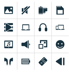 Music icons set with emoji film enlarge vector
