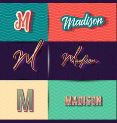 Name madison in various retro graphic design vector
