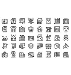 notary icons set outline style vector image