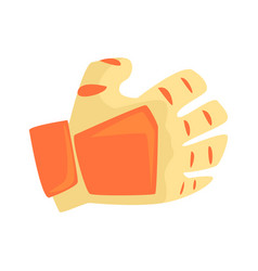Orange sport glove handball sport equipment vector