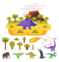 prehistoric landscape and volcano with dinosaurs vector image