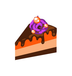 pumpkin pie with chocolate topping cartoon vector image