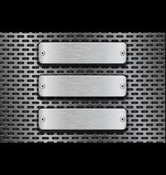 Rectangular metal buttons on iron perforated vector