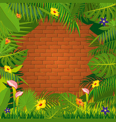red brick wall and jungle green frame design vector image