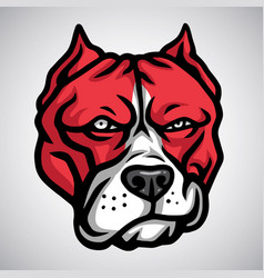 red pitbull mascot smirking logo template vector image