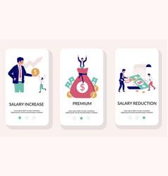 Salary mobile app onboarding screens vector