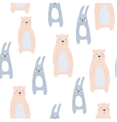 Seamless childish pattern with cute bear and bunny vector